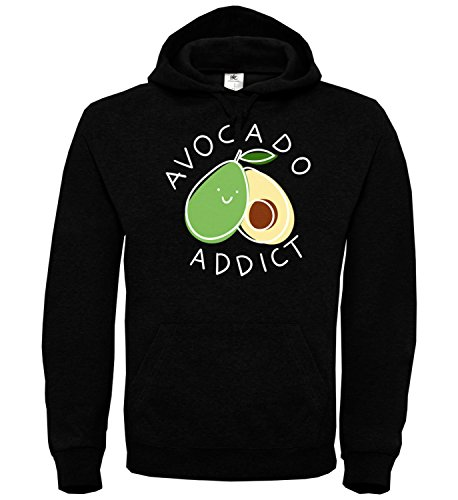 Avocado Addict Sports Gym Yoga Vegan Black Unisex Hoodie Kapuzen Kapuzenpullover Damen Herren Pullie Sweater Hoody Birthday Gift Wear Men's Women's Unisex LG Hoodie (Addict Hoodie)