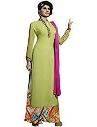 Shoppingover Women's Georgette Dress Material (10014MG_Free Size_Green)