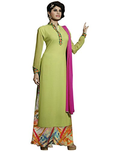 Shoppingover Partywear Anarkali Churidar Salwar Kameez in Green Color