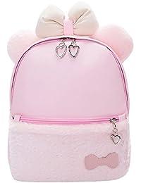 Rrimin Women PU Leather Girls Backpack School Bag Cute Bow Fashion Shoulder Bag