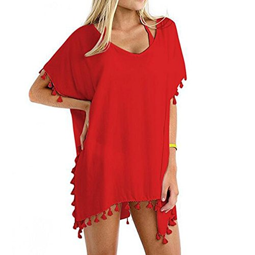 xhorizon FM8 Klassische gestreifte Bikini aus Chiffon Bademode Badeanzug mit Quaste und Vertuschung Solid-Wassermelone Rot
