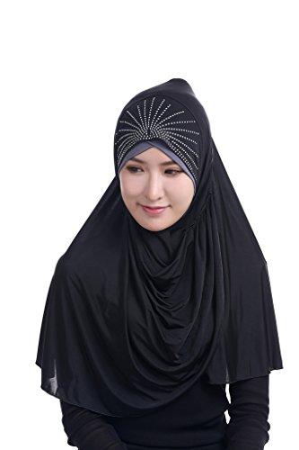 GladThink Femmes musulmanes Silk Ice Big taille Hijab Noir