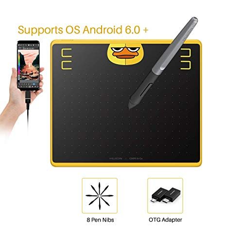 HUION HS64 Chips Special Edition Graphics Tablet Equipped with 4 User-Defined Express Keys(Support OS Android Device) 6.3 x 4 inch Graphics Tablet