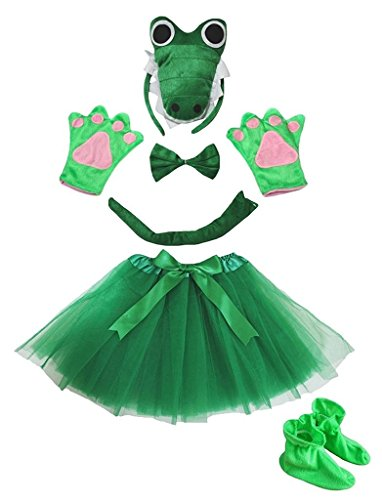 Petitebelle 3D-Stirnband Bowtie Schwanz Handschuhe Rock Schuhe 6pc Mädchen-Kostüm Einheitsgröße 3D Gruen Crocodile (Crocodile Rock Kostüm)