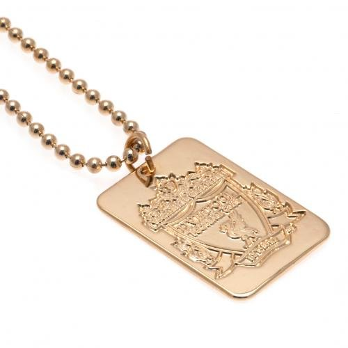 Liverpool F.C. vergoldet dog tag &CHAIN- vergoldet; CHAIN- ERKENNUNGSMARKE dog tag: 20 mm x 30 mm, Kettenlänge ca. 51 cm (50.80 cm, es in einer Geschenkebox, Offizielles FußBall-Merchandising-Produkt