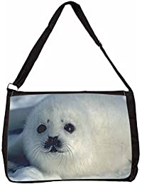 Snow White Sea Lion Large Black Laptop Shoulder Bag Christmas Gift Idea