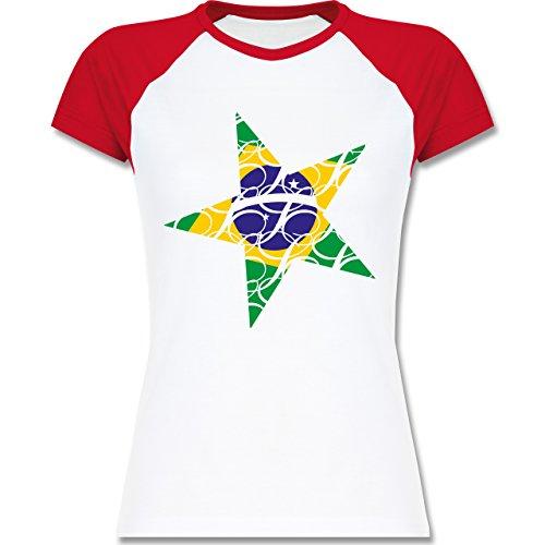 Shirtracer Länder - Brasilien Stern - Zweifarbiges Baseballshirt/Raglan T-Shirt für Damen Weiß/Rot
