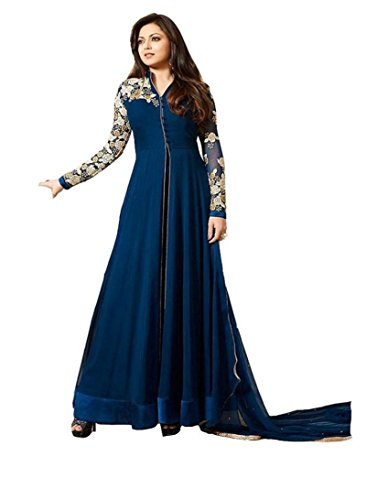 Dhruv Fab Women\'s Georgette Semi-Stitched Embroidered Anarkali Gown (Blue_Free Size)