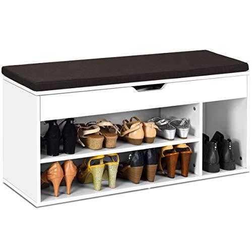 COSTWAY Schuhbank mit Sitzfläche, Schuhregal Holz, Schuhkommode Schuhablage Schuhschrank aufklappbar, Sitzbank mit Regal, mit Sitzkissen, Farbewahl (weiß)