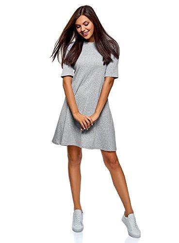 oodji Ultra Damen A-Linie-Kleid in RIPP-Optik, Grau, DE 38 / EU 40 / M -