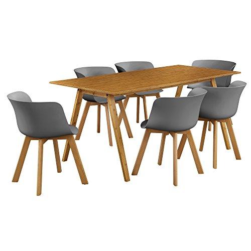 [en.casa]® Esstisch mit 6 Stühlen Bambus/grau 180x80 Küchentisch Esszimmertisch
