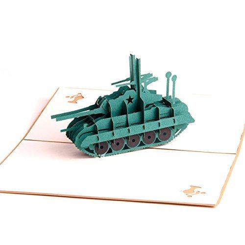 """Paper Spiritz Pop Up Karte """"Tank"""" Grußkarten Glückwunschkarte Kommunion Geburtstagskarte mit Umschlag für Hochzeit Feiertag"""