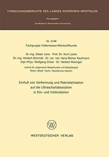 Einfluß von Verformung und Rekristallisation auf die Ultraschallabsorption in Ein- und Vielkristallen (Forschungsberichte des Landes Nordrhein-Westfalen, Band 3146)