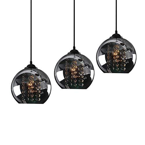 Modern K9 Kristall Leuchte Pendelleuchte Esstischleuchte Retro Glas Globo Lampenschirm Design Anhänger Lüster Hängeleuchte Innen Dekorativ Decke Lampe Beleuchtung Pendellampe Esszimmer Bartheke Ø20cm