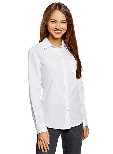 oodji Ultra Damen Hemd Basic mit Brusttasche, Weiß, DE 42 / EU 44 / XL