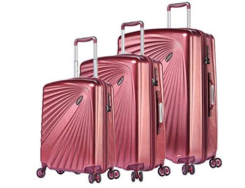 Verage Kinetic Leichter Hartschalen-Kofferset 3 teilig S-M-L (Metallic Burgund), TSA integriert, 4 Rollen ABS/PC Trolley mit Sicherheits-Reißverschluss