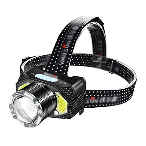 Lampade da testa fari luci sportive all'aperto luci per arrampicata luci per pesca notturna fari fari zoom (color : black)