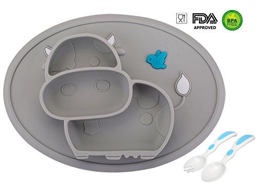 Baby Teller Schüssel Mini Silikon Tischset für Baby Kleinkinder und Kinder Tragbar Teller Baby Rutschfest Babyteller Tischset für die meisten Hochstuhlschalen(Kuh-2Grey)