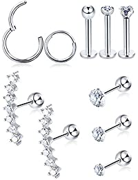 d87408a22 10 Pieces Cartilage Tragus Earrings Set Labret Studs Barbell Earring CZ  Inlaid Steel Ear Ring for