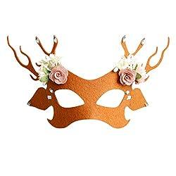 Yanhoo Festival Weihnachten Halloween Oktoberfest Karneval Zubehör,Dress up,Dekoration,Unisex Weihnachten Kostüm Maske Party Antler Half Face Animal Mask
