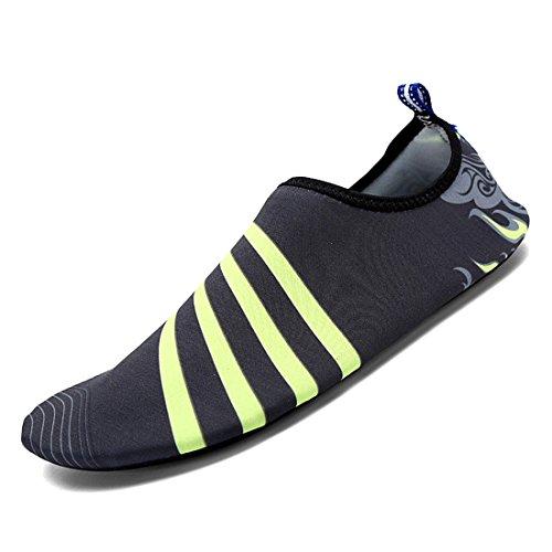 DorkasDE Unisex Strandschuhe Aquaschuhe Aqua Schuhe Atmungsaktiv Schwimmschuhe Surfschuhe Wasserschuhe Badeschuhe für Damen Herren Kinder Grau