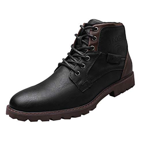 Watopi Retro Herren Schuhe schnürstiefeletten High Top Side Zipper Tooling Stiefel für Herren Outdoor Desert Boots