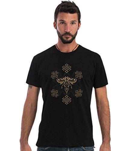 Camiseta negra de Mandalas Sol - Diseño psicodélico original estampado 100% algodón manga corta para hombre - Talla XL