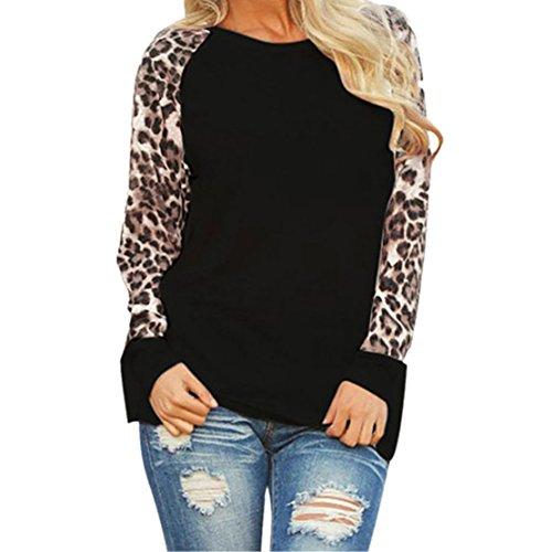 Lilicat Damen T-Shirt Top Rundhals Oberteile Langarm Shirt Frauen Sommer Hemd Mode Bluse Übergröße Casual Haut Leopard Drucken Elegant Tuniken Lässige Tunika Chic Top (XL, Schwarz) (Lace Bustier Leopard)