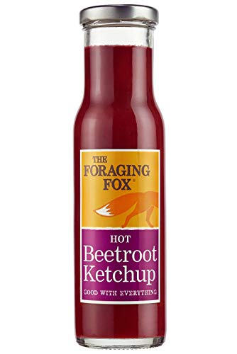Foraging Fox Beetroot Ketchup - Hot Flavour - 255g -100% Natural, No Artificial Flavours, Made With Quality Beetroot - Single Bottle