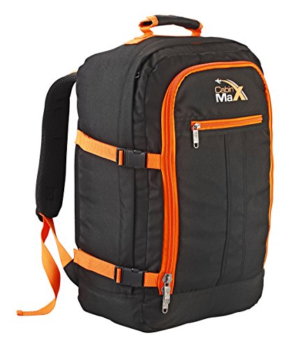 Cabin Max Backpack Flight Approved Carry On Bag Massive 44 litre Travel Hand Luggage 55x40x20 cm (Black/Orange)