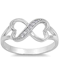 925 Sterling Silver Infinity Heart Shaped Cubic Zirconia Ring