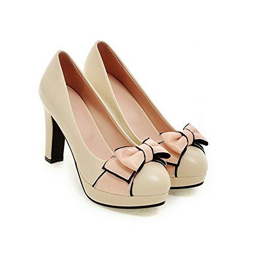 VogueZone009 Femme Matière Souple Tire Rond à Talon Haut Couleurs Mélangées Chaussures Légeres Beige