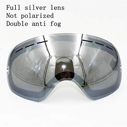 Skibrille Doppellinsen-schichten Uv400 Anti Nebel Große Skimasken Skibrillen Männer Snowboardbrille Winter-brillen Silberne Linse (Kein Fram