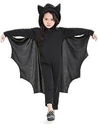 Per Bat Jumpsuit für Kinder Halloween Kostüm mit Kapuze & Handschuhe für Jungen & Mädchen Kleinkind