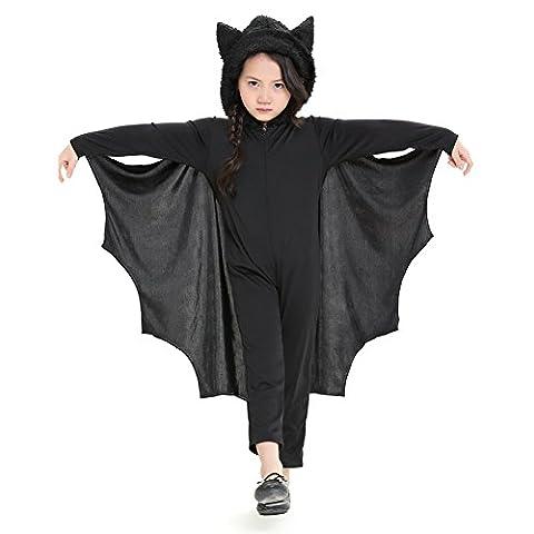 Per Bat Jumpsuit für Kinder Halloween Kostüm mit Kapuze & Handschuhe für Jungen & Mädchen