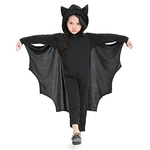 per Bat Jumpsuit für Kinder Halloween Kostüm mit Kapuze & Handschuhe für Jungen & Mädchen ()