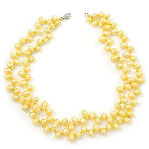 10mm jaune vif, forme de poire 2brins–Collier Femme–Perle d'eau douce–43cm L