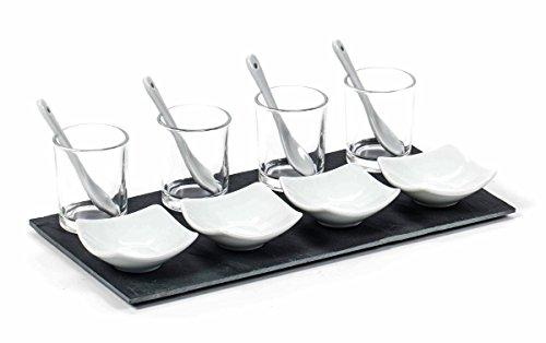 Servierschale, Appetizer-Set 4 Schalen (Glas mit Löffel/eckige Schale) mit Schiefer-Tablett, Größe ca. 30 x 15,5 cm