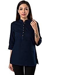 Bright Cotton Short Kurtis For Women Blue Cotton BCOWN-020-V