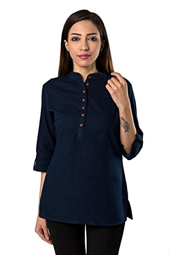Bright Cotton Short Kurtis for Women Blue Cotton BCOWN-020-40