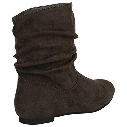 Stiefelparadies Damen Klassische Stiefel Schlupfstiefel Leder-Optik Bequeme Stiefeletten Boots Leicht Gefütterte Schuhe Flandell Dunkelgrün Samtoptik