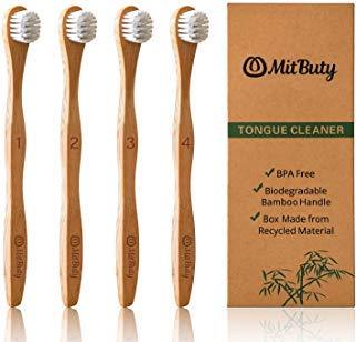 MitButy Zungenreiniger, 4er Pack Bambus Zungenbürste für Erwachsene - Beseitigen Sie Mundgeruch | Angenehmer als Zungenschaber aus Edelstahl