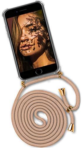 OneFlow® Handykette + Hülle passend für iPhone 6S Plus / 6 Plus | Stylische Kordel Kette - Kristallklare Handyhülle mit Band zum Umhängen in Gold Beige