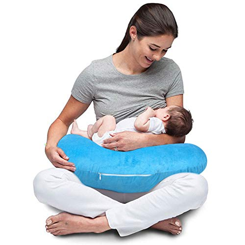 Baybee New Born Velvet Portable Breast Feeding Pillow   Infant Support for Baby and Mom   Best for Breastfeeding Moms - Blue