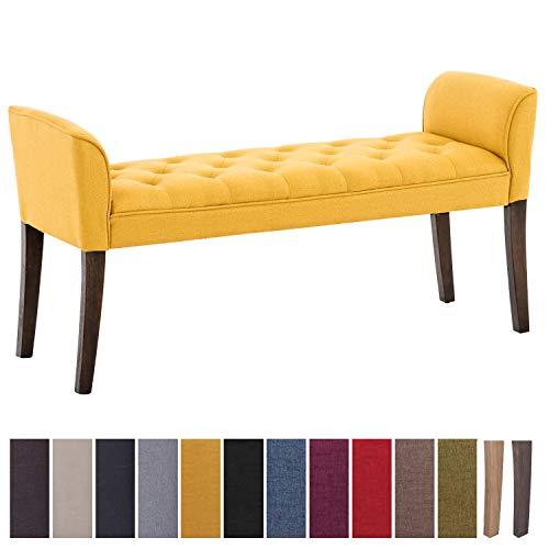 Clp chaise longue cleopatra in tessuto design chesterfield, imbottita e trapuntata | panca fondo letto panchina interno gambe in legno| 130 x 40 cm, alt. 65 cm giallo antico scuro