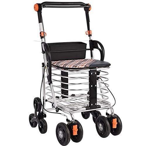 Rollator Lightweight Folding 4 WheelsWheeled Walker-Einkaufstrolley mit Sitztragetasche Bremsen Einkaufstrolley für ältere Menschen Eingeschränkte Mobilität Beihilfehöhe: 50 \u0026 times; 29