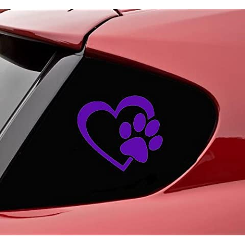 HEART with DOG PAW Puppy Love 4 (color: PURPLE) Vinyl Decal Window Sticker for Cars, Trucks, Windows, Walls, Laptops, and other stuff. by pet DECALS