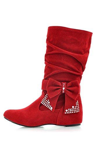femme bottes - SODIAL(R)femme plier rhinestone arc bottes rouge 39