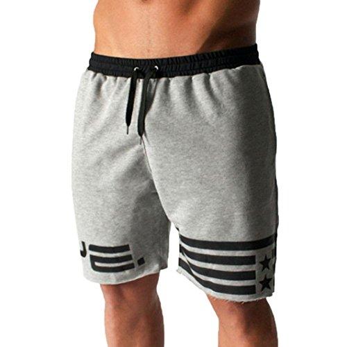 oiok Laufen Kurze Hosen Freizeit Men Kleidung Casual Elastisches Fitnesstraining Flagge Sterne Shorts Jogginghose (Grau, M) ()