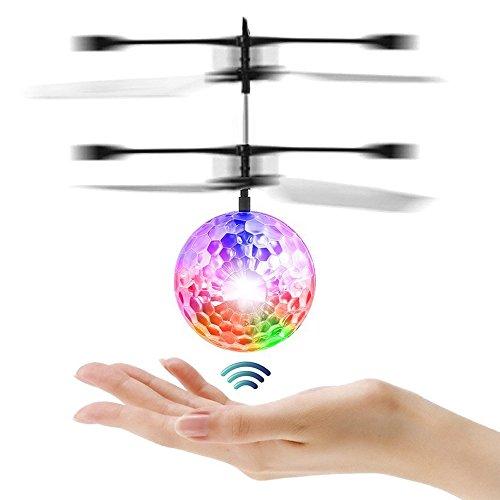 Joy-Fun Geschenke für Mädchen Jungen Fliegende Ball Mini Drohne RC Hubschrauber Outdoor Spiele für Kinder Flugzeug Star Wars Spielzeug für Erwachsene mit LED Leuchtung Kristall Transparent